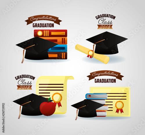 congratulations graduation hats stickers colors certificates vector