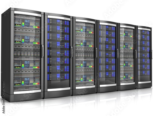 Leinwanddruck Bild network workstation servers 3d illustration