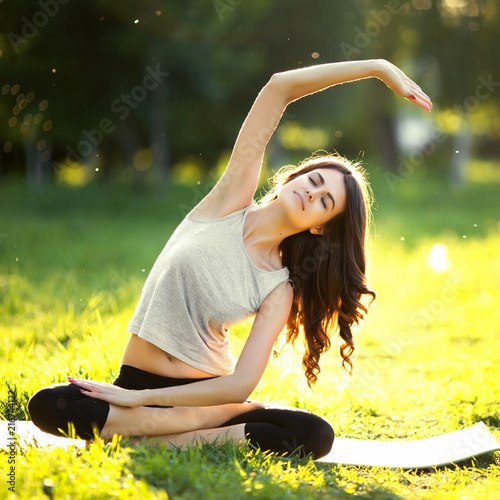 Sticker Woman practicing yoga outdoors
