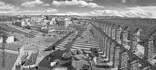 Fridge magnet SEGOVIA, SPAIN, APRIL - 13, 2016: Aqueduct of Segovia and Plaza del Artilleria with the town.