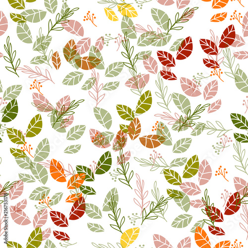 Pack of pretty autumn leaves and flowers - 216753178