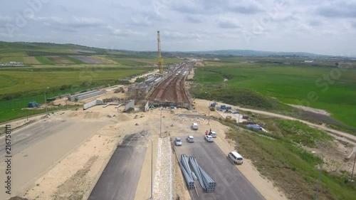 Obraz na płótnie Aerial video of bridge construction. Shor from a drone.