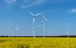 Leinwanddruck Bild - Wind power plants in a field of blooming oilseed rape seen in rural Germany