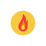 Fire Flame in circle flat icon, vector sign, colorful pictogram isolated on white. Flammable symbol, logo illustration. Flat style design