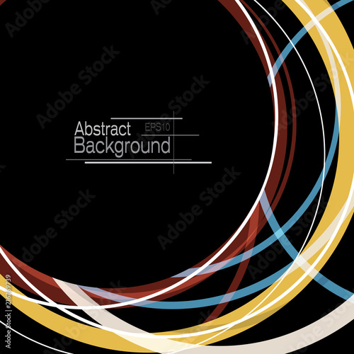 Sticker Abstract minimal geometric round circle shapes design background with copy space
