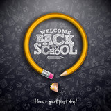 Back to school design with graphite pencil and typography lettering on black chalkboard background. Vector School illustration with hand drawn doodles for greeting card, banner, flyer, invitation - 216770907