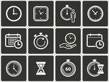 Clock time icons set