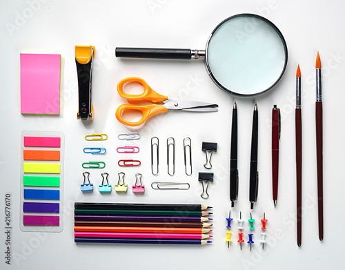 Foto Murales Neat School Stationary Flat Lay on White Background