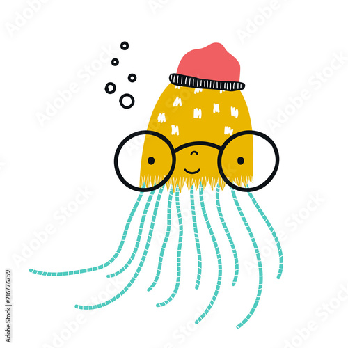 Fototapeta Cute hand drawn nursery poster with jellyfish in glasses and a hat. Kids vector illustration in scandinavian style