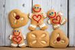 Leinwanddruck Bild - Lustige Lebkuchen zu Weihnachten