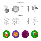 Elephant on the ball, circus lion, crossbeam, balls.Circus set collection icons in flat,outline,monochrome style vector symbol stock illustration web.
