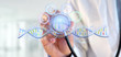 Leinwanddruck Bild - Doctor holding a 3d render DNA