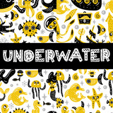 Seamless pattern set. Underwater world. Vector illustration