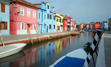 great panorama of Colored Houses of Burano near Venice in Italy