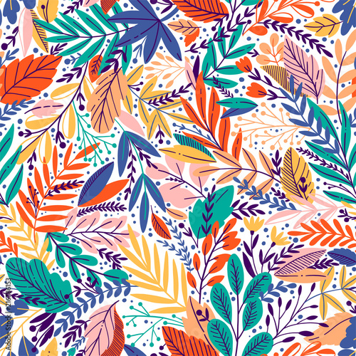 Bright tropical leaf seamless pattern. Vector illustration - 216786153