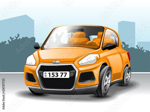 Canvas Auto Orange Car. In Cartoon style.