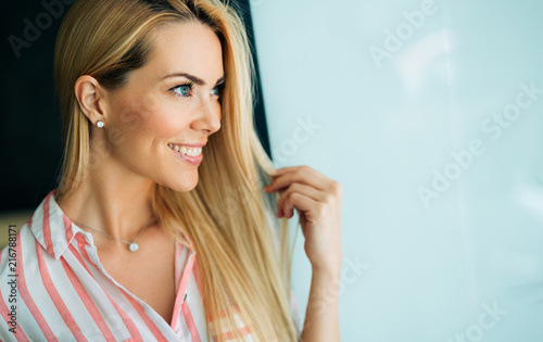 Woman portrait with perfect hair and make-up blonde - 216788171