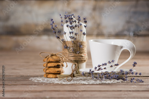 Wall mural coffee biscuits and candle with lavender