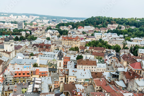 Ukraine, the city of Lviv on August 5, 2018, the appearance on the roof of houses in the city of Lviv - 216794334