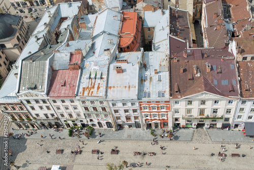 Fototapeta Ukraine, the city of Lviv on August 5, 2018, the appearance on the roof of houses in the city of Lviv