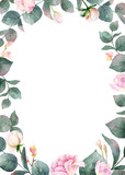 Watercolor vector hand painting card of peony flowers and green leaves. - 216794500