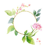 Watercolor vector hand painting composition from the flowers, green leaves and gold geometric frame. - 216794511
