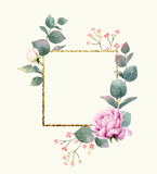 Watercolor vector hand painting composition from the flowers, green leaves and gold geometric frame. - 216794527