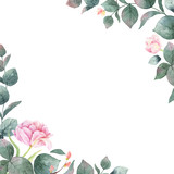 Watercolor vector hand painting card of peony flowers and green leaves. - 216794588