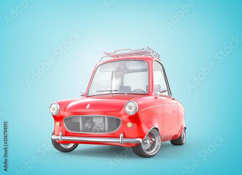 Leinwanddruck Bild Red retro car. 3d illustration