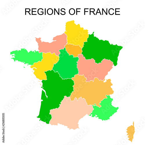 Black outlines map of France with names on white background.   Buy ...