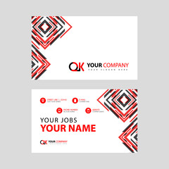 Letter OK logo in black which is included in a name card or simple business card with a horizontal template.