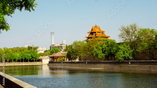 Foto Spatwand Peking Forbidden City in Beijing, view from the other side of the river