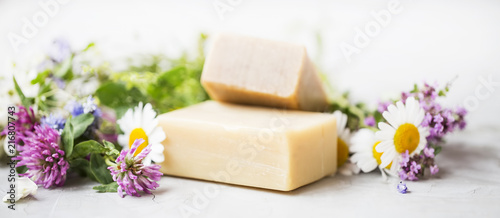 Leinwanddruck Bild Natural handmade skincare. Organic soap bars with plants extracts