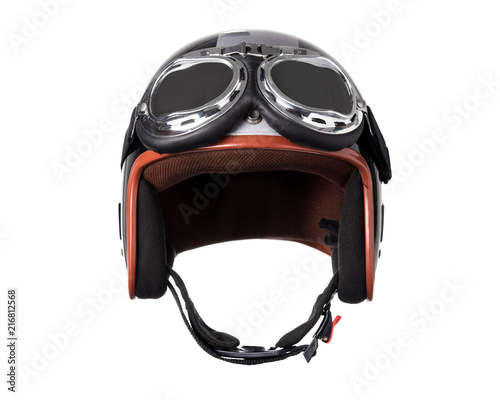 Plexiglas Scooter Vintage motorcycle helmet isolated on white background.