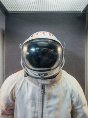 Soviet cosmonaut or spaceman suit with words USSR on helmet