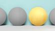 Konzept zu anders oder besonders sein. 4 Kreise in einer Reihe. Ein Kreis ist durch seine goldene Farbe hervorgehoben und macht den somit Unterschied
