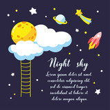 Background with cartoon full moon, clouds and other cosmic objects in the night sky.