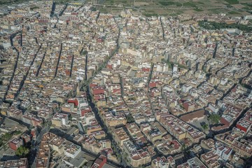 Areal view from airplane of Castellon village in Valencia region. © Иван Грабилин