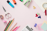 Modern mock up flat lay of notebook and stationery on pink background - Concept of creative work space - 216821372