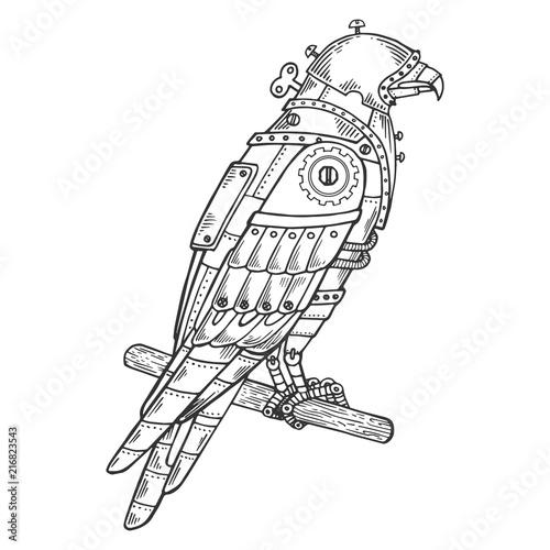 Fototapeta Mechanical hawk bird animal engraving vector