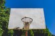 Basketball hoop against the warm summer sky