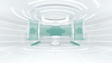 Futuristic white illustration and cyber punk sci-fi style cyber screen display 3d rendering