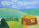 Children's drawing: small house, mountains, summer forest and blue sky. Drawing in watercolor