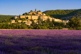 The village of Banon in Provence with lavender fields at sunrise. Summer in the Alpes-de-Hautes-Provence. Alps, France - 216829334