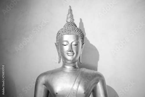 Fotobehang Boeddha Monochrome Buddha Statue. architecture in thailand.