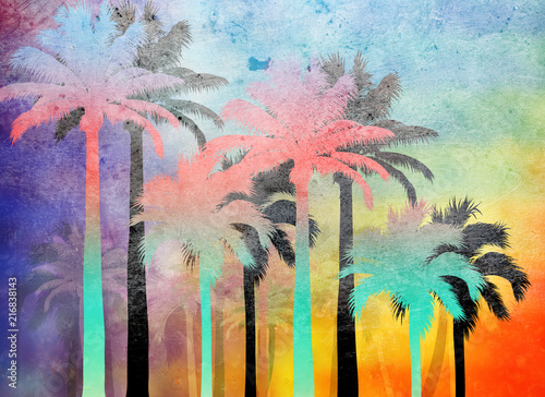 tropical palm grunge background - 216838143