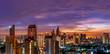 metropolis urban cityscape on sunset twilight skyline