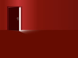 Red room and half open door with incidence of light coming in. Vector illustration. - 216839963