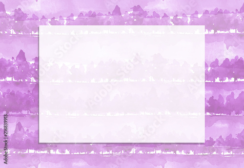 Aluminium Purper Seamless watercolor pattern. Autumn landscape, forest, park. Silhouettes of trees and bushes. pink, white colors. Linear curb.