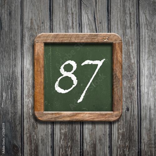 digit on a green blackboard - 216841119